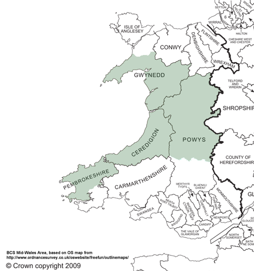 BCS Mid-Wales Geographic Area (Approximate)